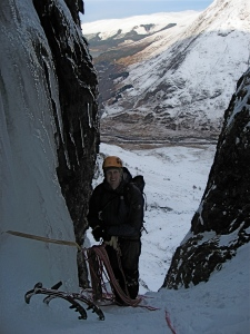Mat belaying above the first ice pitch, No. 6 Gully