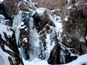 Mat on the direct finish to No. 6 Gully, Aonach Dubh