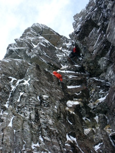Climbers on East Face Route, Stob Coire nan Lochan