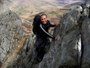 Darrell enjoying the scrambling on Bristly Ridge, Glyders
