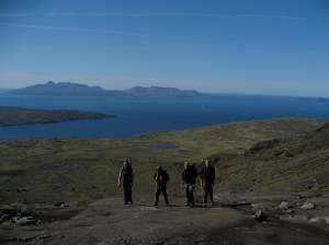 Looking out to Rhum from Coire a Ghunndha, Isle of Skye