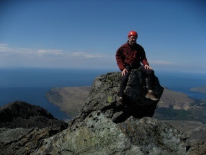 Sitting Happy! Summit of the Inaccessible Pinnacle, Skye