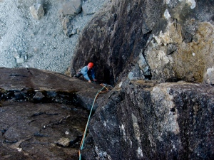 New Route. Big Corner groove near the base of the Great Stone Shoot, Skye