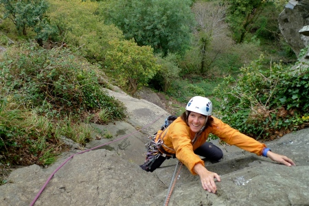 Catrin on Grim Wall Direct, Tremadog