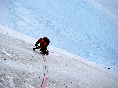 Grey ice on the Chere Couloir