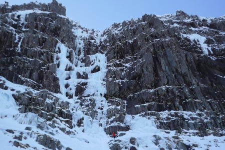 Salmon Leap is the left hand icefall. Poachers is the right.