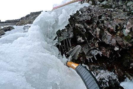 Melting ice on Vanishing Gully