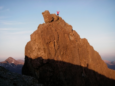 Joy on the summit of the Inaccessible Pinnacle