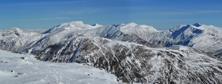 Ben Nevis and the Mamores from the Aonach Eagach