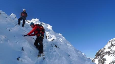 Descending Am Bodach, Aonach Eagach