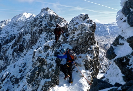 Traversing the pinnacles, Aonach Eagach