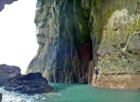 under the giant arch of Wen Zawn