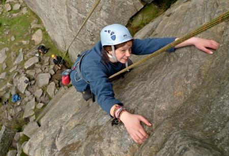 Dylan enjoying the climbing at High Neb, Stanage.
