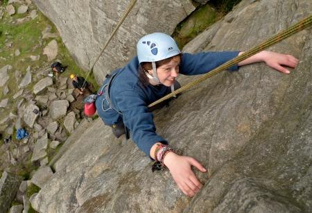Dylan enjoying the climbing at High Neb, Stanage.