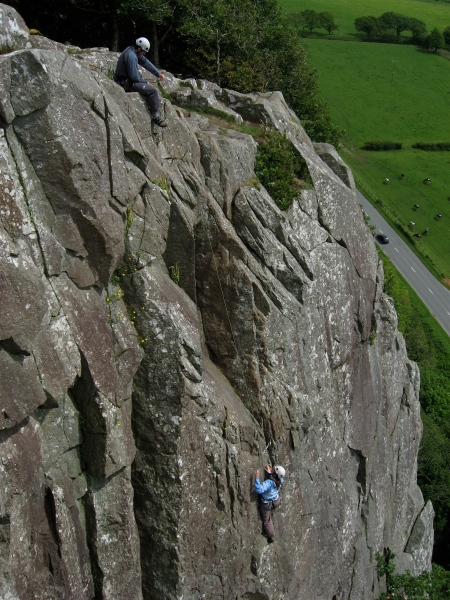 Climbers enjoying the last pitch of Christmas Curry at Tremadog