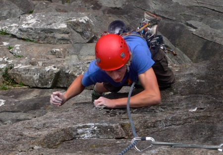 Alex dispatching the crux of Merlin Direct, Tremadog