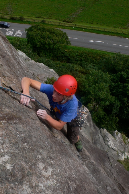 Alex topping out on the classic Merlin Direct, Tremadog