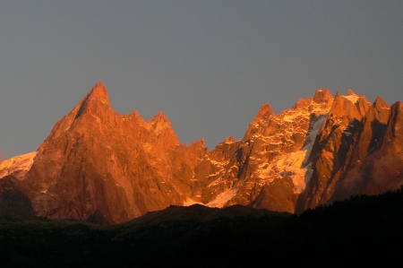 Chamonix Aiguilles at sunset