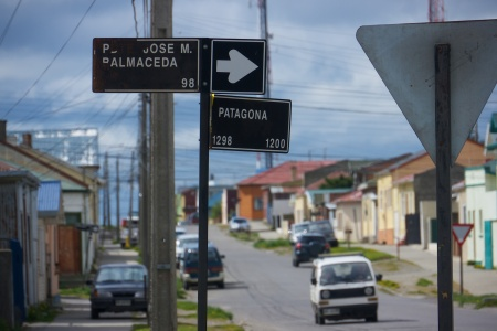 Patagona - a street sign reminder of where you are.