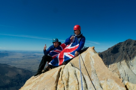Tom & Malcolm on the summit, North Tower of Paine